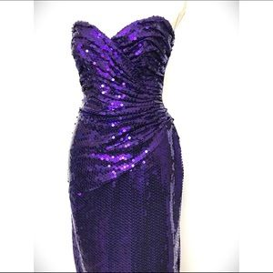 Vintage Tadashi Purple Sequins Dress